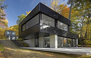 Modern, flat roof exterior with black metal siding and larged windows