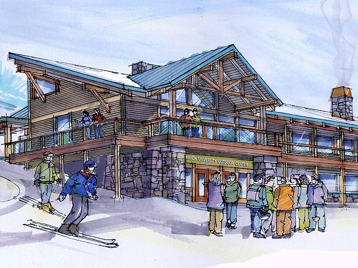Sketch of rustic, wood gabled ski lodge